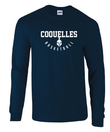 T-shirt manches longues Navy coupe unisexe Coquelles