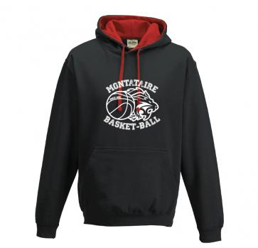 Sweat avec capuche contrasté Noir et rouge Montataire Basket