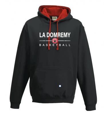 Sweat contrasté Noir et rouge La Domremy Basket