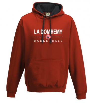 Sweat avec capuche contrasté Rouge et Noir La Domremy Basket