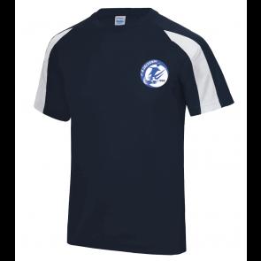 T-shirt contrasté Navy/Blanc polyester Salornay