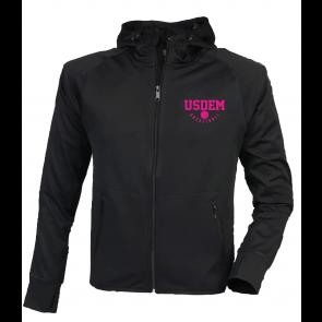 Veste capuche noire polyester marquage rose USDEM