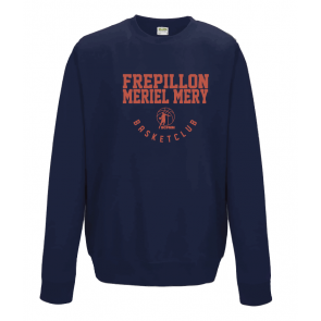 Sweat navy marquage rouge unisexe sans capuche Frepillon Basket