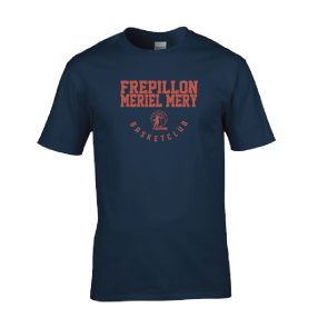 T-shirt navy marquage rouge unisexe Frepillon Basket