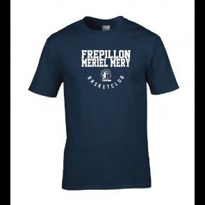 T-shirt navy marquage blanc unisexe Frepillon Basket