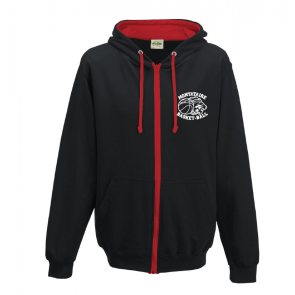 Veste avec capuche contrastée Noir et rouge Montataire Basket