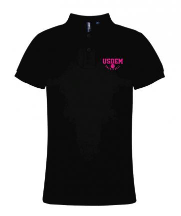 Polo coton noir femme USDEM logo fushia