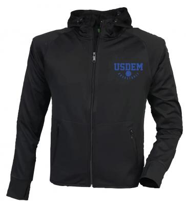 Veste capuche noire polyester marquage bleu USDEM