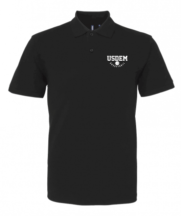 Polo coton noir USDEM logo Blanc
