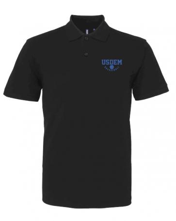 Polo coton noir USDEM logo Royal