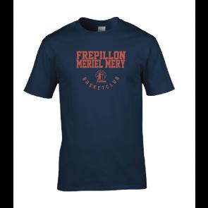 T-shirt navy marquage rouge unisexe Frepillon Basket