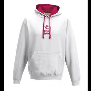 Sweat Contrasté Unisexe Blanc / Fushia logo face PLB